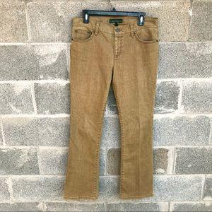 LRL Bronze Distressed Denim Bootcut Jeans 8
